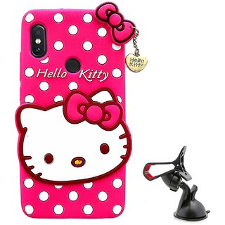 TBZ Cute Hello Kitty Soft Rubber Silicone Back Case Cover for Vivo V9 with Mobile Car