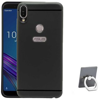 TBZ Soft TPU Slim Back Case Cover for Asus Zenfone Max (M1) ZB555KL with Mobile Ring Holder -Black