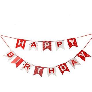 Jades HAPPY BIRTHDAY Red & White Premium Paper Centre Banners