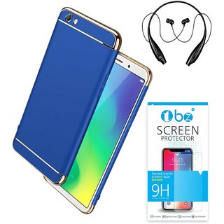 Buy TBZ Ultra-thin 3 in 1 Shockproof Electroplate Metal Texture Hard Back Case Cover for Vivo Y71 with Bluetooth Headset and Tempered Screen Guard -Blue ...