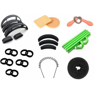 Out Of Box Set of 5 Hair Bumpit Puff Bumpits 3 Pieces Banana Hair Volumizer with Donut Bun Maker 10 Pieces Self Holing Flexi Roller with Facial Hair Threading Epilator Spring It 10 Piece Black Ribbed Elastic Rubber Band with 2 Make up Puffs and 1 Waved Zi