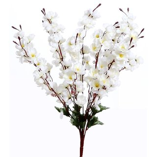 Yuvraj Creation Artificial Peach Blossom Flower Bunch (9 Stems White 45cm)