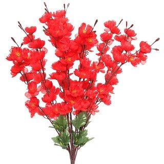 Yuvraj Creation Artificial Peach Blossom Flower Bunch (9 Stems Red 45cm)