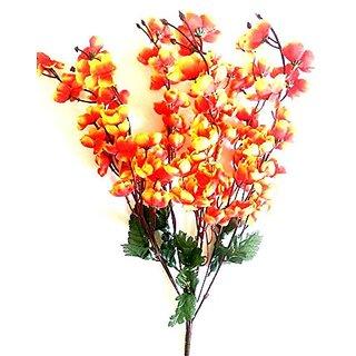Yuvraj Creation Artificial Peach Blossom Flower Bunch (9 Stems Orange 45cm)