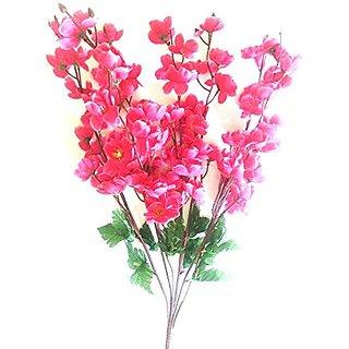 Yuvraj Creation Artificial Peach Blossom Flower Bunch (9 Stems Pink 45cm)
