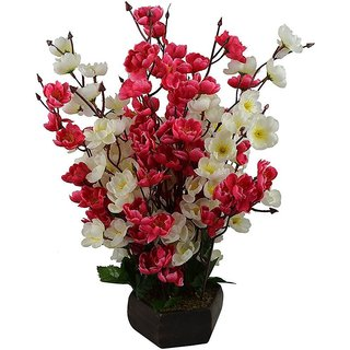 Yuvraj Creation Bonsai Blossom Artificial Flowers With Wooden Pot(17Inch)