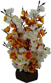 Yuvraj Creation Artificial Flower Pot Orchid Peach Blossom Flower Bunch Pot For Home decor Hotel Decor Office decor- Finest Quality on Shopclues - 14 Sticks 40cm (Yellow)
