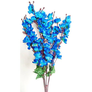 Yuvraj Creation Orchid/Peony Flower Bunch Blue Orchids Artificial Flower(22 inch Pack of 1)