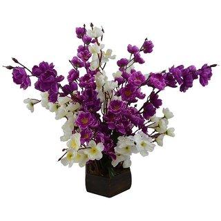 Yuvraj Creation Artificial Flower Pot Orchid Peach Blossom Flower Bunch Pot For Home decor Hotel Decor Office decor- Finest Quality on Shopclues - 14 Sticks 40cm (Purple)