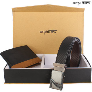 SPAIROW MenS Leather Wallet Belt Combo (ORA-0201 ED-0401) BLACK