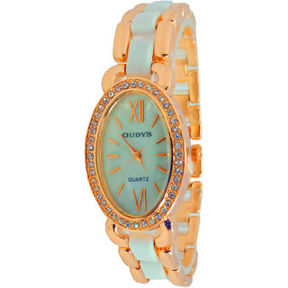 Wonder Analogue White Dial Stone Studded Rosegold Watch For Womens  Girls