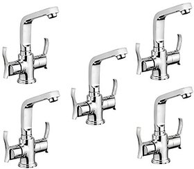 Oleanna Angel Brass Center Hole Basin Mixer With 450Mm Flexible Hose And Hot & Cold Water Feature (Disc Fitting   Quarter Turn   Form Flow) Chrome - Pack Of 5 Nos