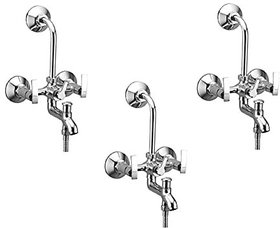 Oleanna Desire Brass Wall Mixer 3 In 1 With 115Mm Bend Pipe And Provision For Over Head And Hand Shower (Disc Fitting | Quarter Turn | Form Flow) Chrome - Pack Of 3 Nos