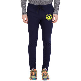 Cliths Men's Navy,Yellow Round Zeep Printed Trackpant