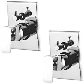 Oleanna Kubix Brass 4 Way Complete Divertor Set And Addons Body Of Single Lever Concealed, Mixers And Divertor For Bath And Shower System (High Quality Cartridges | Quarter Turn) Chrome - Pack Of 2 Nos