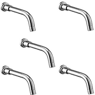 Oleanna Fancy Brass Plain Spout With Wall Flange Used For Divertor, Concealed,Angular Cock Bath Tub Spout Chrome - Pack Of 5 Nos