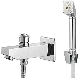 Oleanna Global Brass Bath Spout With Tip-Ton And Wall Flange With Provision For Hand Shower Bath Tub Spout Chrome