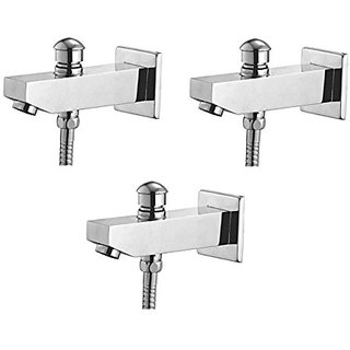 Oleanna Global Brass Bath Spout With Tip-Ton And Wall Flange With Provision For Hand Shower Bath Tub Spout Chrome - Pack Of 3 Nos