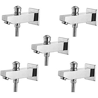 Oleanna Global Brass Bath Spout With Tip-Ton And Wall Flange With Provision For Hand Shower Bath Tub Spout Chrome - Pack Of 5 Nos