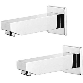 Oleanna Kubix Brass Plain Spout With Wall Flange Used For Divertor, Concealed,Angular Cock Bath Tub Spout Chrome - Pack Of 2 Nos