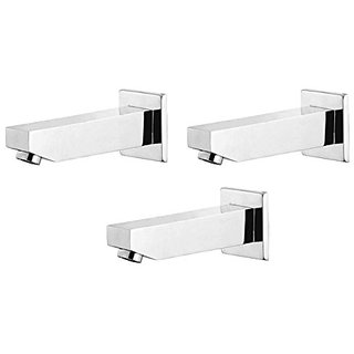 Oleanna Kubix Brass Plain Spout With Wall Flange Used For Divertor, Concealed,Angular Cock Bath Tub Spout Chrome - Pack Of 3 Nos
