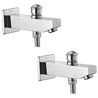 Oleanna Kubix Brass Bath Spout With Tip-Ton And Wall Flange With Provision For Hand Shower Bath Tub Spout Chrome - Pack Of 2 Nos