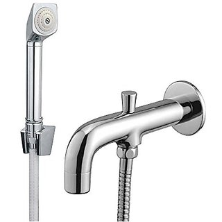 Oleanna Speed Brass Bath Spout With Tip-Ton And Wall Flange With Provision For Hand Shower Bath Tub Spout Chrome