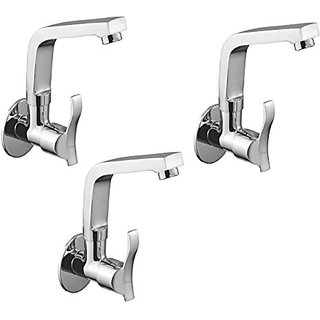 Oleanna Angel Brass Sink Tap With Wall Flange Sink Cock With Swivel Casted Spout Wall Mounted (Disc Fitting | Quarter Turn | Form Flow) Chrome - Pack Of 3 Nos
