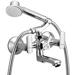Oleanna Speed Brass Telephonic Wall Mixer with Crutch and Hand Shower Set Included (Disc Fitting | Quarter Turn | Form Flow) Chrome
