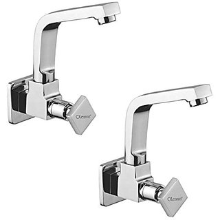 Oleanna Melody Brass Sink Tap With Wall Flange Sink Cock With Swivel Casted Spout Wall Mounted (Disc Fitting | Quarter Turn | Form Flow) Chrome - Pack Of 2 Nos