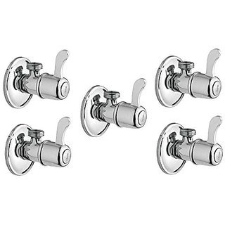 Oleanna Angle Cock Brass Wall Mounted (Pack of 5) Silver