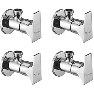 Oleanna Global Brass Angle Valve With Wall Flange Agular Cock (Disc Fitting | Quarter Turn) Chrome - Pack Of 4 Nos