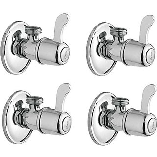 Oleanna Magic Brass Angle Valve With Wall Flange Agular Cock (Disc Fitting | Quarter Turn) Chrome - Pack Of 4 Nos
