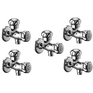Oleanna Moon Brass 2 In 1 Angle Valve With Wall Flange 2-Way Agular Stop Cock (Rising Fitting | Quarter Turn) Chrome - Pack Of 5 Nos