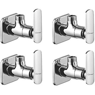 Oleanna Speed Brass Angle Valve With Wall Flange Agular Cock (Disc Fitting | Quarter Turn) Chrome - Pack Of 3 Nos
