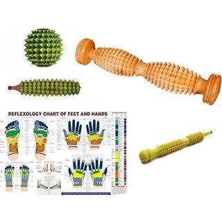 ACUPRESSURE Foot Roller Cut Wooden Massager With Chart  3 Massager Kit SMART Massager