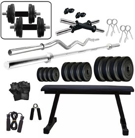 SPORTO Fitness Heavy Duty Complete Home Gym Set with Flat Bench, Weight Lifting 50 Kg