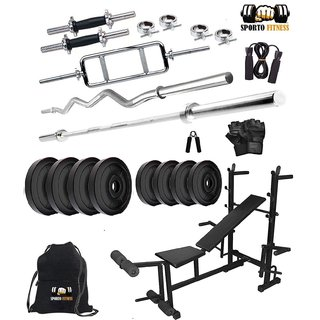 Sporto Fitness PVC 40 Kg Home Gym Set with 8 in 1 Exerciser Home Gym Bench