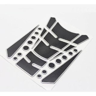 Carbon Fiber Bike Tank Protector Pad Sticker Guard 200mm x 140mm (Hx W) Silver