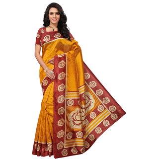 Bhuwal Fashion Floral Print Mysore silk Saree with tassel-BF5142Yellow