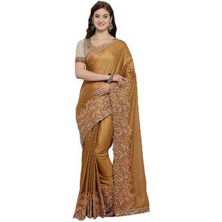 Triveni Gold Georgette Festival Wear Embroidered Saree