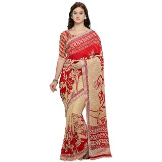Aagaman Red Georgette Casual wear Printed Saree