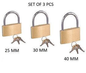 Evershine Five Coins Brass Security Padlock With 3 Keys Set Of 3 Lock ( 25 mm/ 30 mm/ 40 mm )