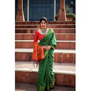 d3b723a3623ce6 Green Colored Patola Silk Weaving Jacquard Work Saree With Blouse And  Weaving Jacquard Work