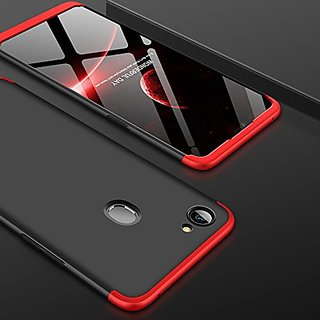MOBIMON OPPO F7 Front Back Case Cover Original Full Body 3-In-1 Slim Fit Complete 3D 360 Degree Protection Hybrid Hard Bumper (Black Red) (LAUNCH OFFER)