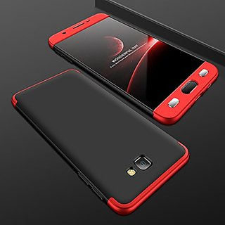 MOBIMON Samsung J7 Prime Front Back Case Cover Original Full Body 3-In-1 Slim Fit Complete 3D 360 Degree Protection Hybrid Hard Bumper (Black Red) (LAUNCH OFFER)