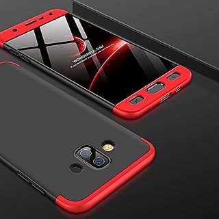 MOBIMON Samsung J7 DUO  Front Back Case Cover Original Full Body 3-In-1 Slim Fit Complete 3D 360 Degree Protection Hybrid Hard Bumper (Black Red) (LAUNCH OFFER)