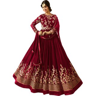7a5725a43 Ethnic Yard Red Faux Georgette Semi-Stitched Anarkali Salwar Suit EY1196-Red