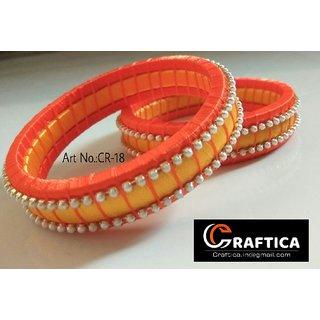Beautiful orange-yellow glossy silk thread bangle set for women  girls