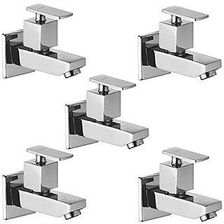 Oleanna Kubix Brass Bib Tap With Wall Flange (Disc Fitting | Quarter Turn | Form Flow) Chrome - Pack Of 5 Nos